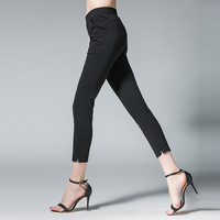 4xl Women Summer Pants Plus Size Elastic Waist Female Black White Slim Reqular Summer Ankle Length