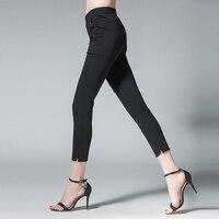 4xl Women Summer Pants Plus Size Elastic Waist Female Black White Slim Reqular Summer Ankle Length
