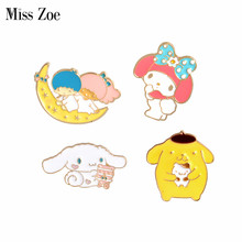 Miss Zoe Cartoon Girl Boy on Moon Dog Rabbit Rosette Brooches Button Pins Denim Jacket Pin Badge Jewelry Gift for Kids Girls(China)