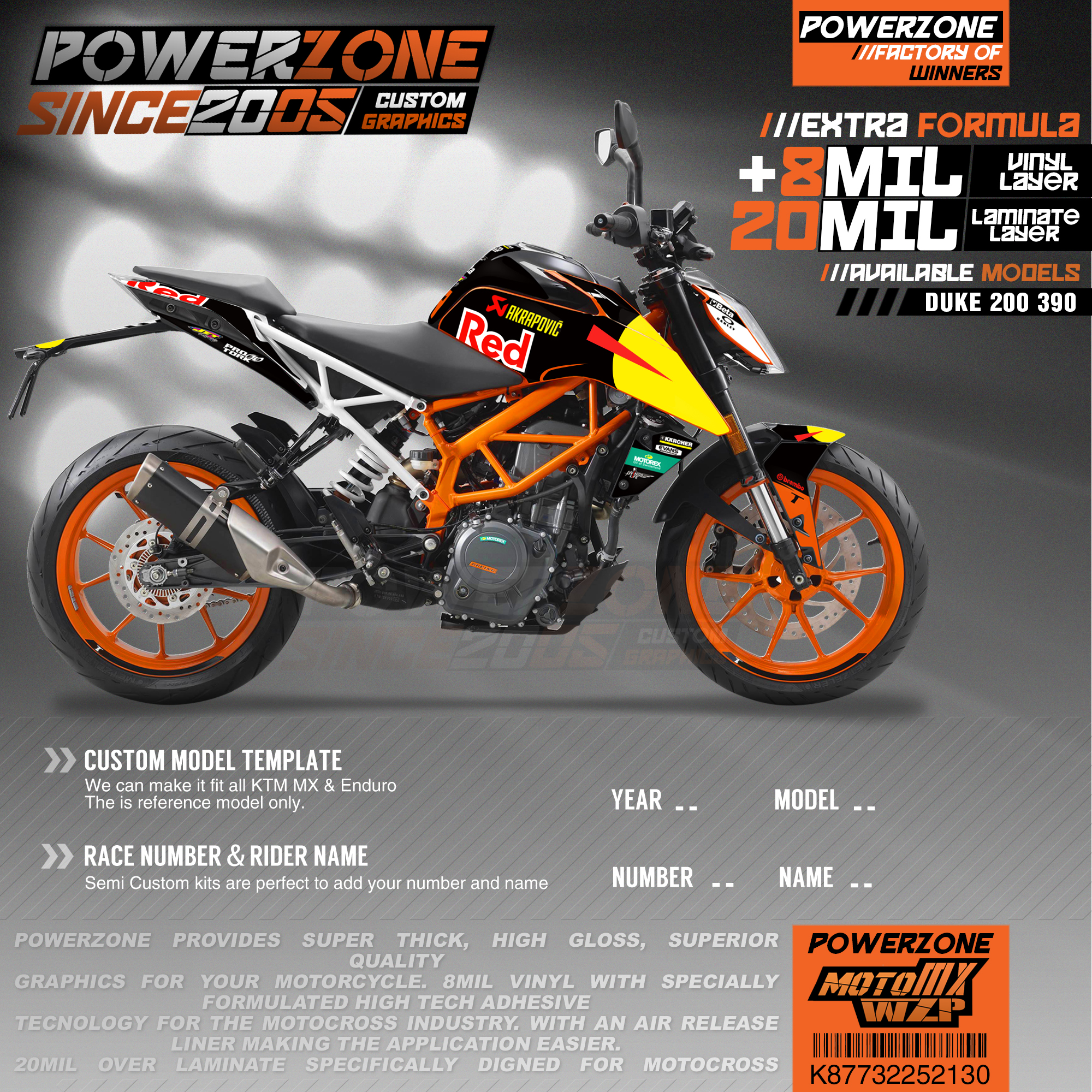 PowerZone Custom Team Graphics Backgrounds Decals 3M <font><b>Stickers</b></font> Kit For KTM <font><b>DUKE</b></font> 200 390 2011-2016 2017-2019 130 image