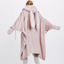 Sweat shirt rose confortable, couverture chaude, à capuche, pour lhiver, pour adultes et enfants, vêtements de nuit énormes, avec oreilles de lapin
