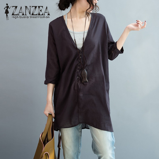 ZANZEA Women Fashion 3/4 Sleeve Basic OL Long Shirt 2018 Autumn Ladies Oversized Blouse Blusas Deep V Neck Baggy Tops Plus Size