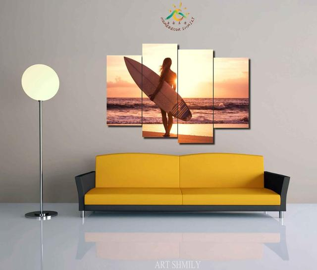 3 4 5 Pieces Woman with Surfboard Modern Wall Art Pictures HD ...