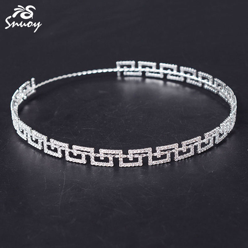 Snuoy Full Circle Round Crown For Women Wedding Hair Accessories Greek Key Bride Greece Stefana Flat Tiara Hairband