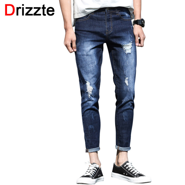 0ce53a23c687 Drizzte Summer Ankle Jeans Men Ripped Distress Stretch Denim Slim Fit Jeans  for Men Soft Comfort