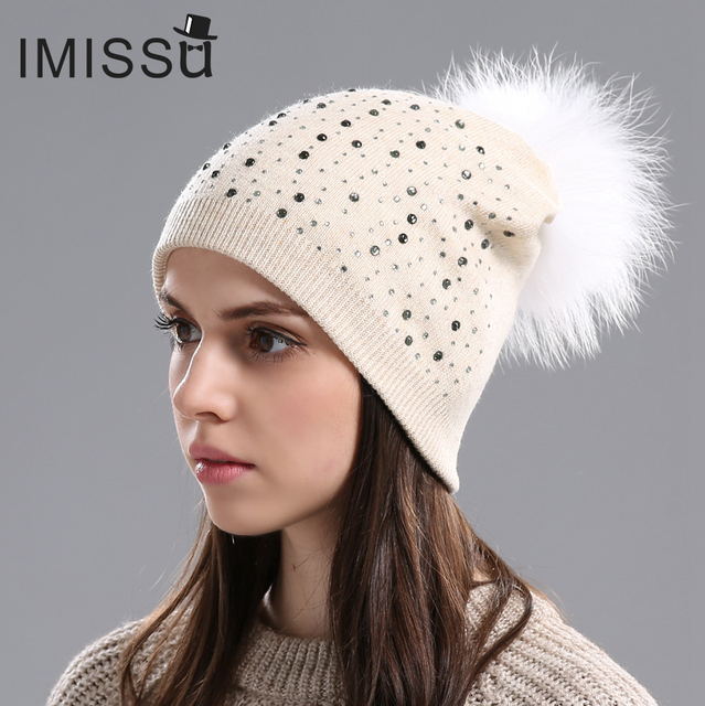 a55e140f0b2 IMISSU Winter Brand New Female Cap Casual Beanie with Real Raccoon Fur  Pompom Knitted Wool Hats Solid Colors Girl  s Wool Hat