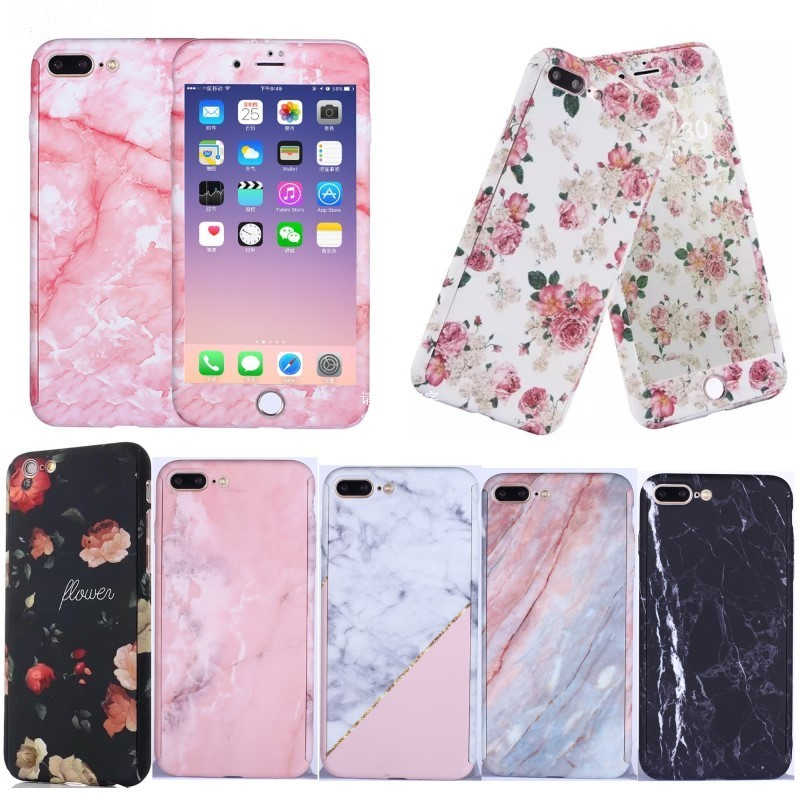360 Degrees Flower Marble Stone Painted Full Protection Case For iPhone X Xs Max XR 8 7 6 6S Plus 5S SE Hard Plastic Phone Cover