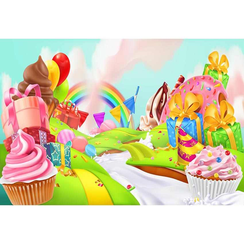 Candyland Chocolate Factory Christmas Party.Cartoon Candy Land Backdrop Printed Present Boxes Cakes Milk
