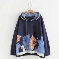 Japanese Harajuku Gothic Mori Girl Casual Cat Print Lace Embroidery Long Sleeve Jersey Autumn Sweatshirt Womens Hoodies Pullover