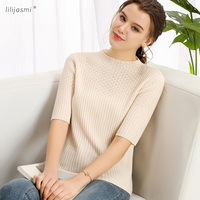 Women's Cashmere Round Neck Short Sleeve Knitted Allover Ribs Pullover Fashion Hollow Out Sweater Jumper Tee 2019 Spring 9201