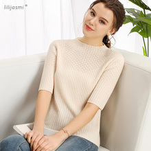 цены на Women's Cashmere Round Neck Short Sleeve Knitted Allover Ribs Pullover Fashion Hollow Out Sweater Jumper Tee 2019 Spring 9201 в интернет-магазинах