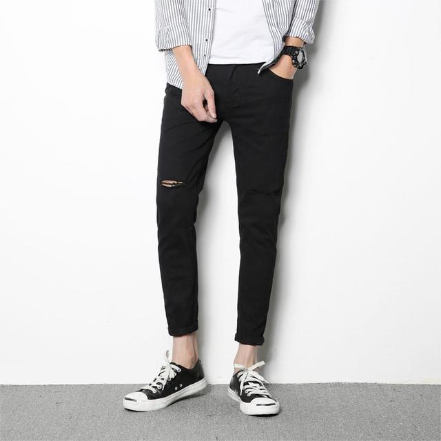 55e62d0bcb1 YINOS Knee Hole Ripped Skinny Jeans Men High Stretch Slim Elastic Pencil Pants  Male Homme Scratch Black White Trousers 2017