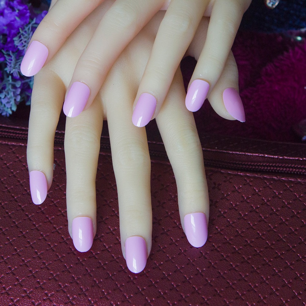 24pcs/set fashion candy short oval false french nails designs art tip  rounded head full fake nails art manicure-in False Nails from Beauty &  Health on ... - 24pcs/set Fashion Candy Short Oval False French Nails Designs Art