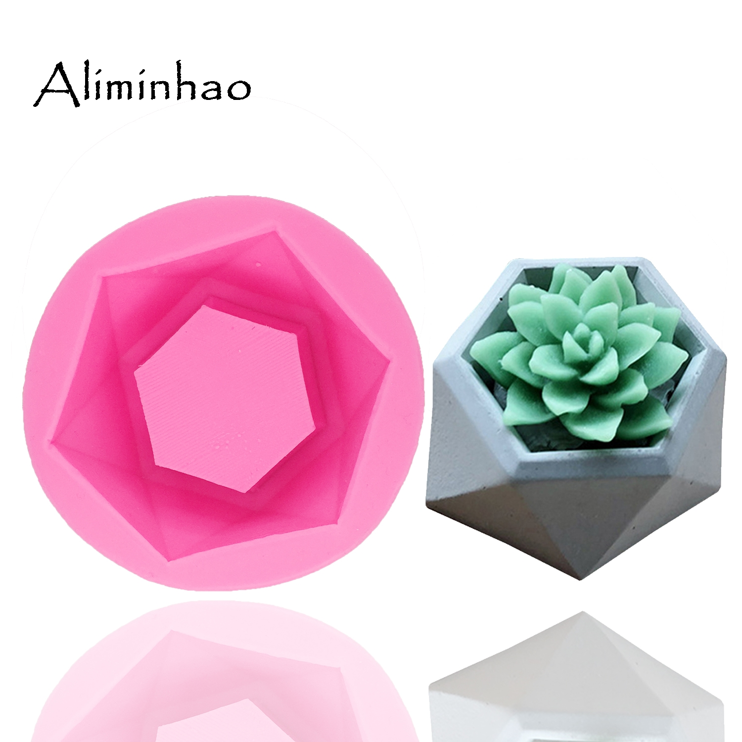B1351 Silicone Molds For 3D Crafts Maker Cement Concrete Stone Project Flower Pot Mold DIY Candle Mold Reusable