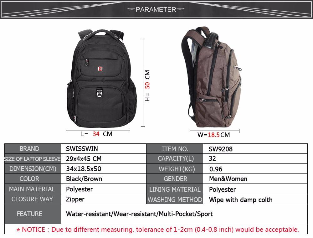 f25aabc333 Swisswin wenger Men s Laptop Backpack Designer Backpack for Women ...