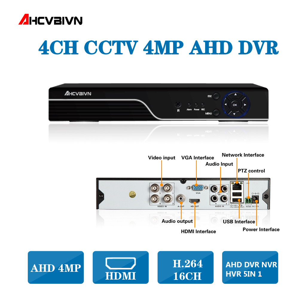 Home 4MP HD 4CH 8CH AHD DVR TVI CVI IP 5 in 1 CCTV 4 Channel 4.0MP HDMI Video Recorder AHD/TVI/CVI/CVBS/IP 5 IN 1 DVRHome 4MP HD 4CH 8CH AHD DVR TVI CVI IP 5 in 1 CCTV 4 Channel 4.0MP HDMI Video Recorder AHD/TVI/CVI/CVBS/IP 5 IN 1 DVR