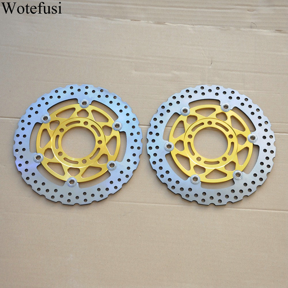 Wotefusi Motorcycle Front Brake Disc Rotor Golden For Kawasaki ZX 6R 636 6RR ZX10R Z 1000 [MT119] wotefusi 1 piece motorcycle front brake rotor disc for kawasaki ninja 250 2013 2015 2014 [pa196]
