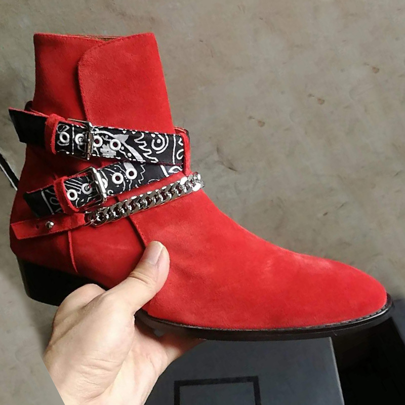 2018 haut de gamme exclusif chaîne boucle sangle Graffiti tissu Chelsea bottes rouge daim passerelle T show marque de luxe bottes décontractées pour homme-in Bottes de neige from Chaussures    2