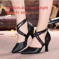 עור השחור של נשים נעלי ריקוד הלטינית טנגו אולם נשפים סלסה נעליים לנשים נשים טו סגור עקב גבוה גודל פלוס