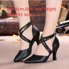 Women's Black Leather Latin Tango Ballroom Dance Shoes Closed Toe Salsa Shoes For Women Ladies Plus Size High Heel
