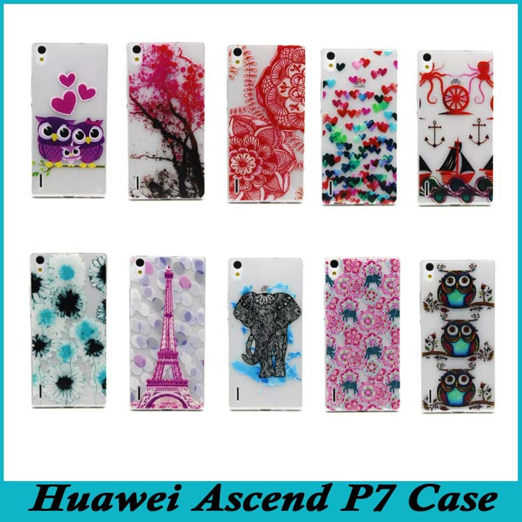 Huawei P7 Case Ultra Slim Drawing Emboss Skin Soft TPU Back Cover Ascend Phone Cases Bags - Shenzhen Topwin Electronic Technology Co., Ltd. store