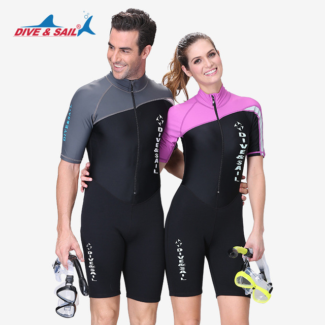 DIVE&SAIL 1.5MM Neoprene Wetsuit Men Women Long/Short Sleeve Trunk One Piece Wet Suits For Swimming Jumpsuit Surfing Rash Guards