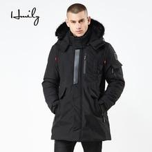 все цены на HMILY 2018 Winter New Jacket Men Warm Coat Fashion Brand Casual Parka Medium-Long Thickening Coats Men For Winter