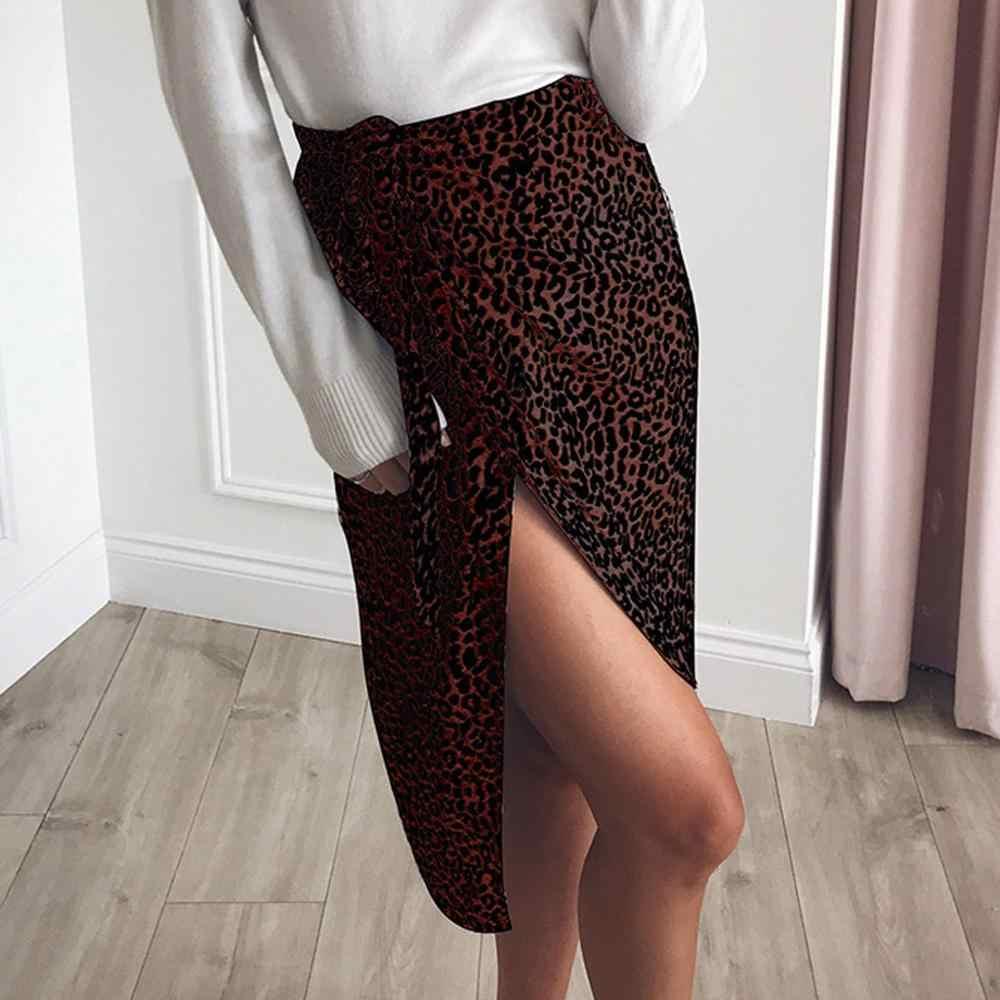 אופנה סדיר חצאית streetwear בגדי נשים של בגדי 2019 בציר ארוך הדפס מנומר Midi נשים של סתיו חצאיות גבוהה H4