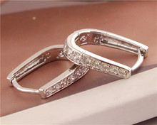 1pair Womens Silver Clear Zircon Fashion U-shape hoop earrings