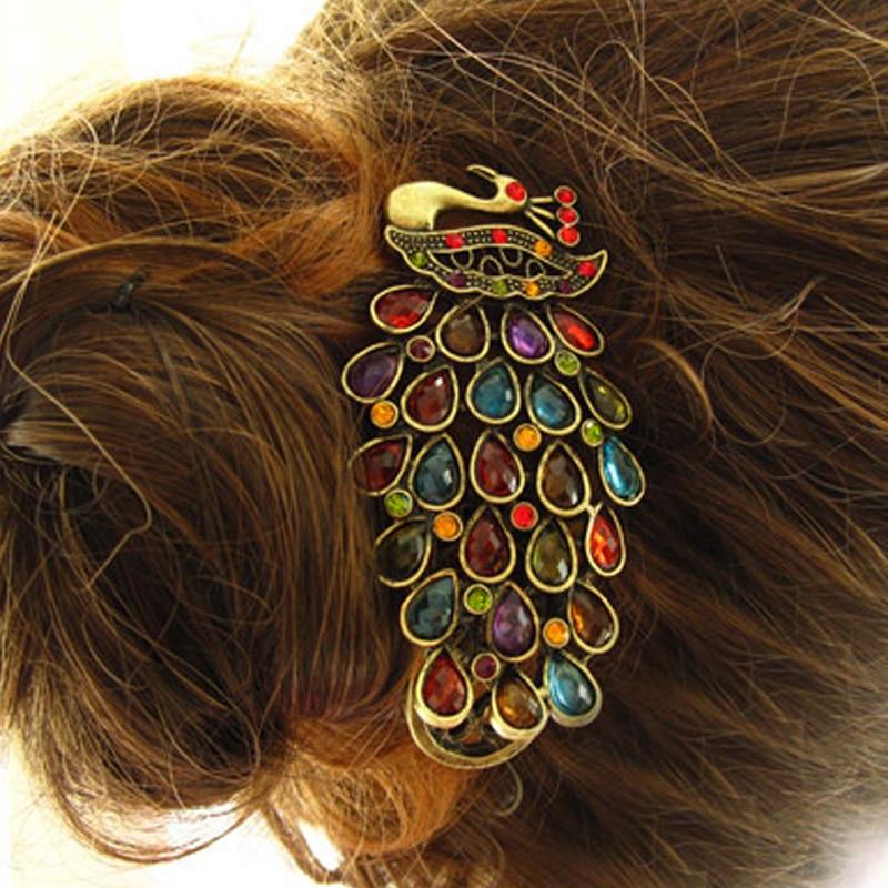 Barrette Hairpin Hair-Accessories Rhinestone Crystal Peacock Vintage Retro Girls Women