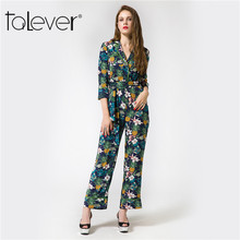 ФОТО 2017 new taleve autumn elegant rompers women jumpsuits casual floral pinnted playsuit long sexy more size bodysuit for ladies