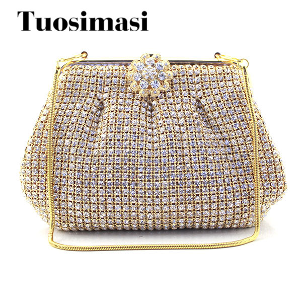Women's Crystal Evening bags Retro Chain Gold Clutch Bags Wedding Diamond Crystal Bags Rhinestone Small Shoulder Bags gold woman evening bag women diamond rhinestone clutch crystal chain shoulder small purse gold wedding purse party evening bags