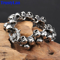 Charm Skull Bracelet For Men Fashion Jewelry Accessories Stainless Steel Punk Exaggerated Biker Bracelets Bangles Friendship