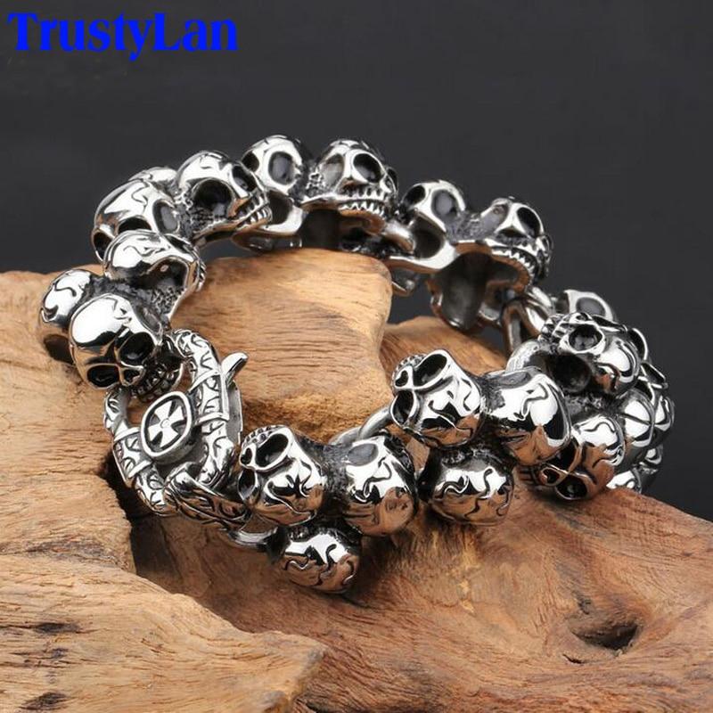 TrustyLan Stainless Steel Skull Bracelet For Men Fashion Mens ...