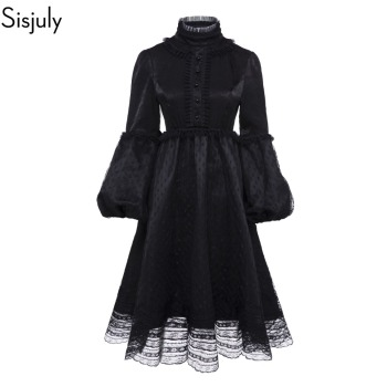 Sisjuly Vintage Gothic Black Dress Women Plus Size Autumn Winter Lantern Sleeve Stand Collar Ruffles Polka Dot Mesh Lace Dresses