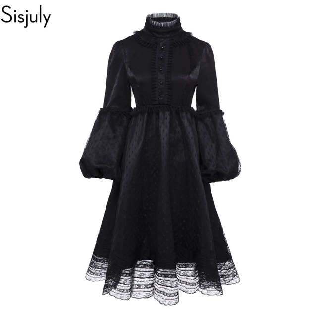 Sisjuly Vintage Gothic Black Dress Women Plus Size Autumn Winter Lantern Sleeve Stand Collar Ruffles Polka Dot Mesh Lace Dresses