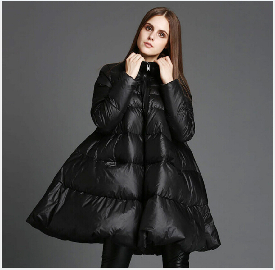 2017 Europa Latest Fashion Women Winter Coat Standing collar Loose Big yards jacket Super Thicker Warm cotton abrigo G2246