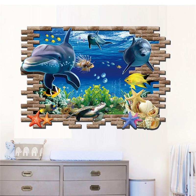 Aliexpress.com : Buy 1pc 3D Under The Water Sea Wall Sticker 60*90cm Blue  Sea World Animal Dolphins Wall Sticking Poster Drop Shipping On Sale From  Reliable ... Part 95