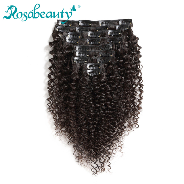 Rosabeauty Kinky Curly 10 Piecesset Clip In Human Hair Extensions