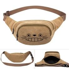 Riñonera de lona con estampado de Anime de My Neighbor Totoro, bolso de viaje informal a la cadera, riñonera para teléfono