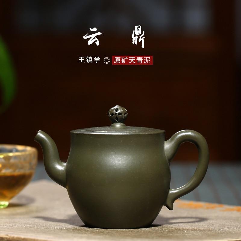Sand Huyuan Mine celestial blue mud master Wang Zhenxue handmade authentic Yunding teapot and tea set one generationSand Huyuan Mine celestial blue mud master Wang Zhenxue handmade authentic Yunding teapot and tea set one generation