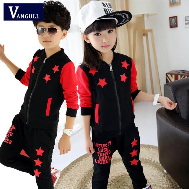 Los niños de los niños traje de 2016 nuevos niños y niñas de ropa deportiva de manga larga de otoño en moda infantil