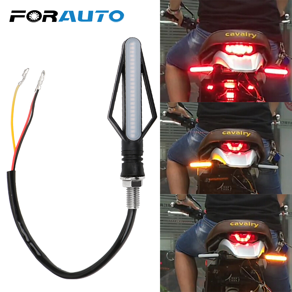 FORAUTO 1Pcs 24 LED Motorcycle Turn Signal Lights Motorbike Indicator For Fog Light Moto Tail Brake Lights Streamer Flashing