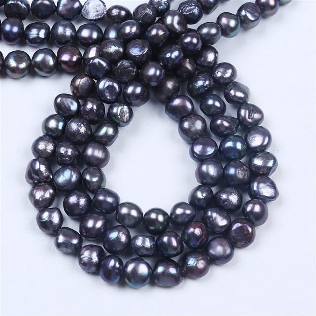 DIY A Wholesale Black Freshwater Baroque Irregular Shape 9-10mm Loose Pearl Beads 16'' For Jewelry Making
