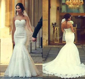Charming Sweetheart Lace Appliques Mermaid Wedding Dresses Sweep Train  Plus Size Formal Bridal Dress цена 2017