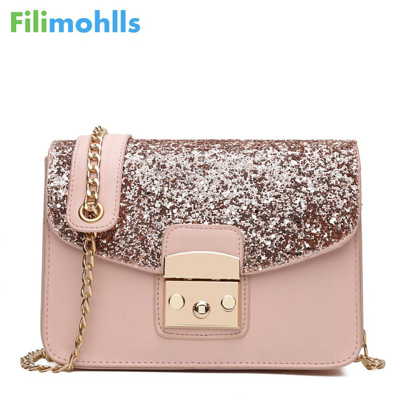 Fashion Women Sequined Messenger Bag Quality Leather Womens Flap Bag Chain Strap Female Shoulder Bag Lay Crossbody Bags S1404
