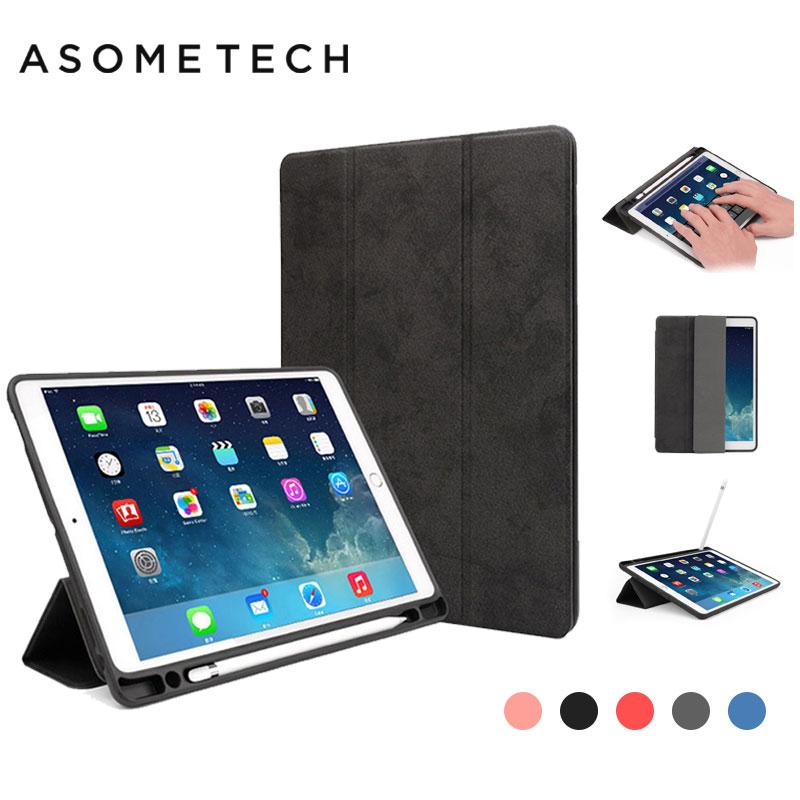 Luxo Macio Lápis Caso Tampa do Suporte de Couro Para ipad 9.7 2018 Fundas A1893 Tablet Para Apple ipad 10.5 Couro Pro pen Slot Casos