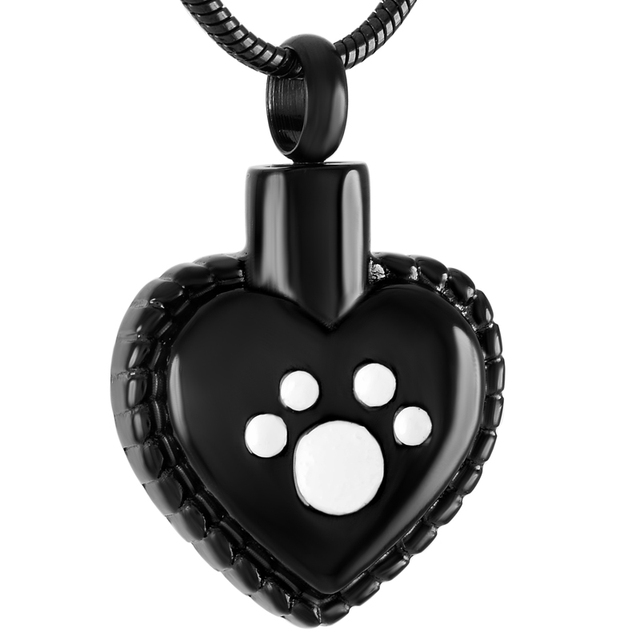 Paw Print in Heart Urn Necklace