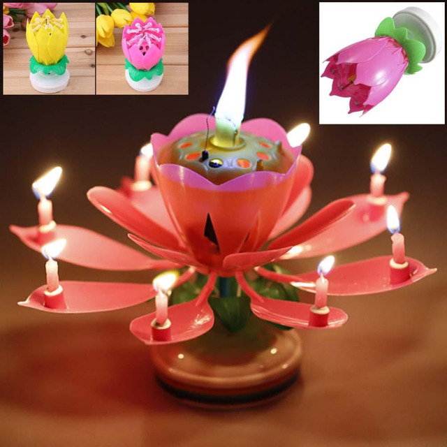 1PC Blossom Lotus Flower Candle Birthday Party Cake Music Sparkle Topper Candles Decoration
