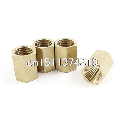 Air Compressor 1/4PT Female Thread Hex Pneumatic Connector Fitting 4 Pcs hex bushing 1 2 pt female threaded straight oil air pipe connector